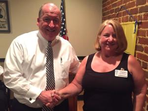 President Karen Kratz thanks Kevin for bringing club members up-to-date on Harnett Health.