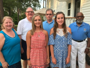 2017 Scholarship winners. Pictured from left to right: Past President Karen Kratz, Scholarship Chair Al Hardison, Scholarship recipient Kaylee Burrell from Western Harnett High School, President Tom Woerner, Scholarship recipient Emma Shewmaker from Harnett Central High School, Scholarship Committee Member Leon McKoy
